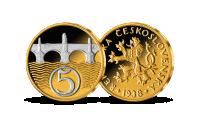 5 h z let 1923-1938 mince zušlechtěná ryzím zlatem a rhodiem