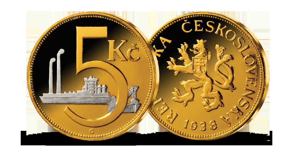 5 Kč z roku 1938 mince zušlechtěná ryzím zlatem a rhodiem