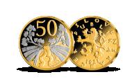 50 h z let 1921-1931 mince zušlechtěná ryzím zlatem a rhodiem