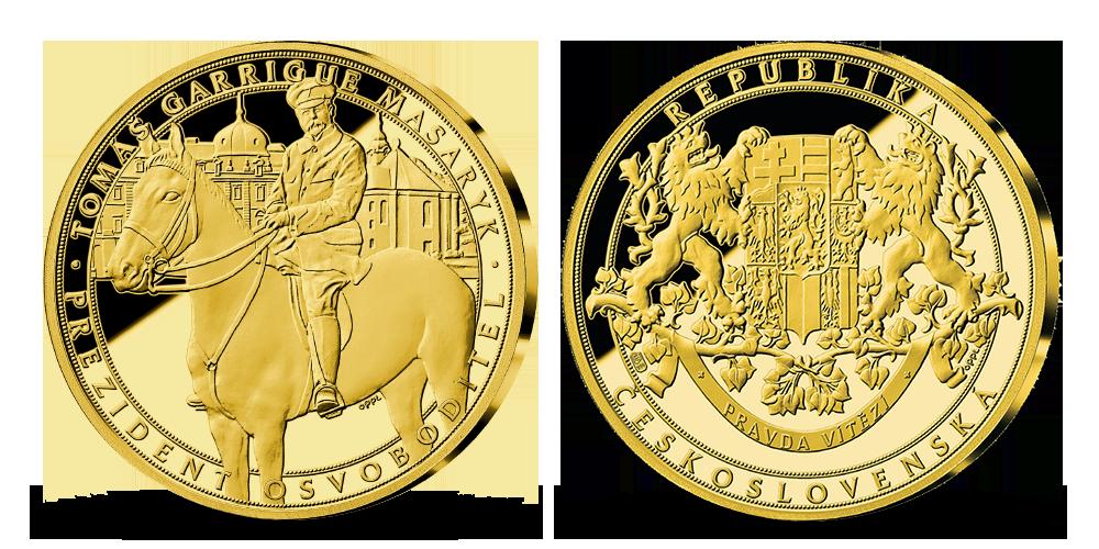 Tomáš Garrigue Masaryk zušlechtěn 24karátovým zlatem