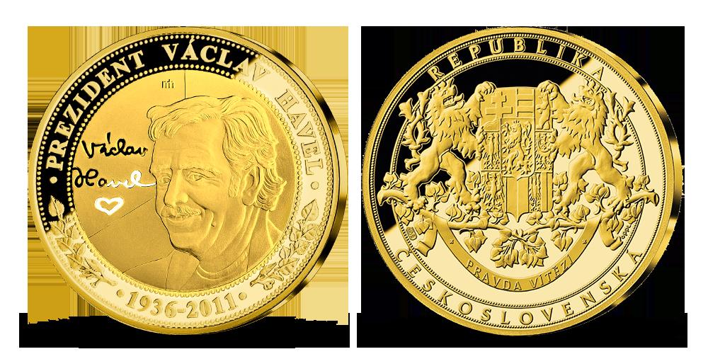 Václav Havel zušlechtěn 24karátovým zlatem