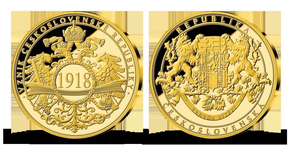 100. výročí vzniku Československa zušlechtěno 24karátovým zlatem