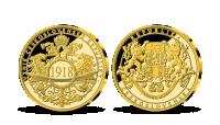 Vznik Československa na mimořádné ražbě z ryzího zlata