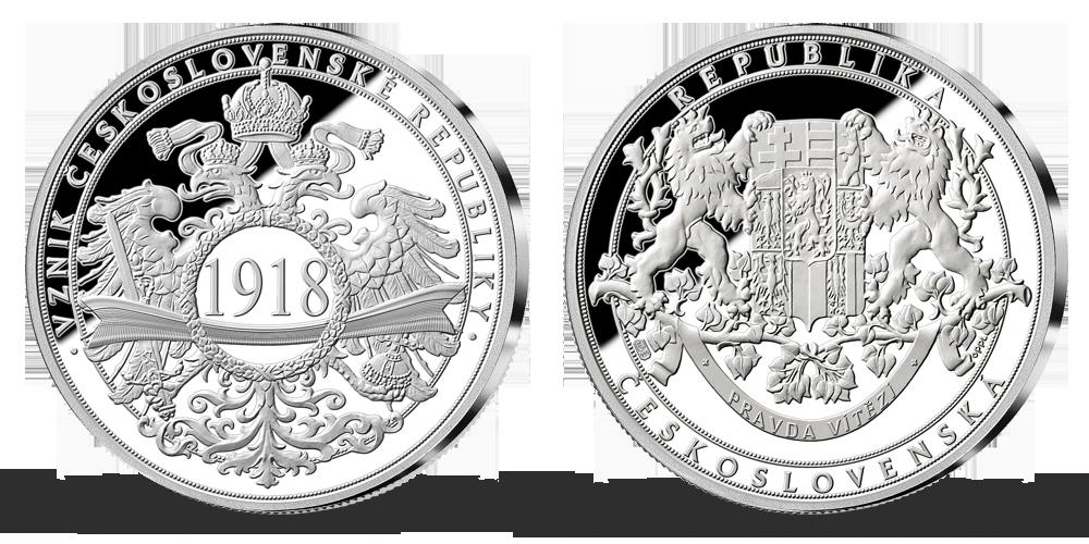100. výročí vzniku Československa v ryzím stříbře