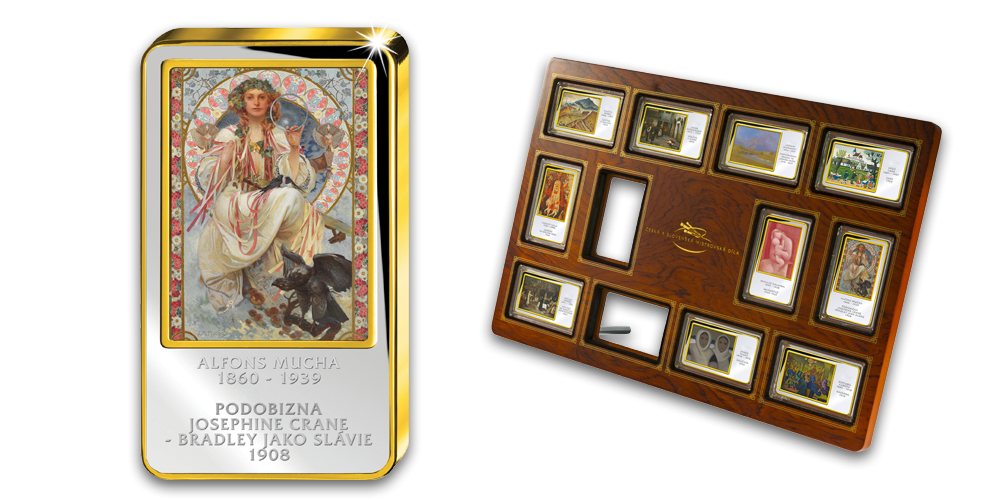 Alfons Mucha, Slavie - Kolorovaná medaile zušlechtěná ryzím zlatem