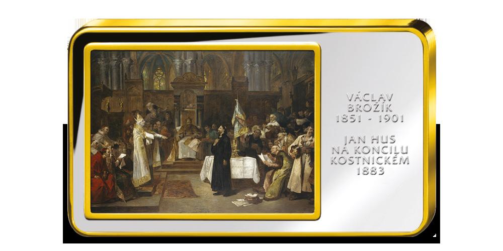 Václav Brožík, Jan Hus na koncilu Kostnickém  - Kolorovaná medaile zušlechtěná ryzím zlatem