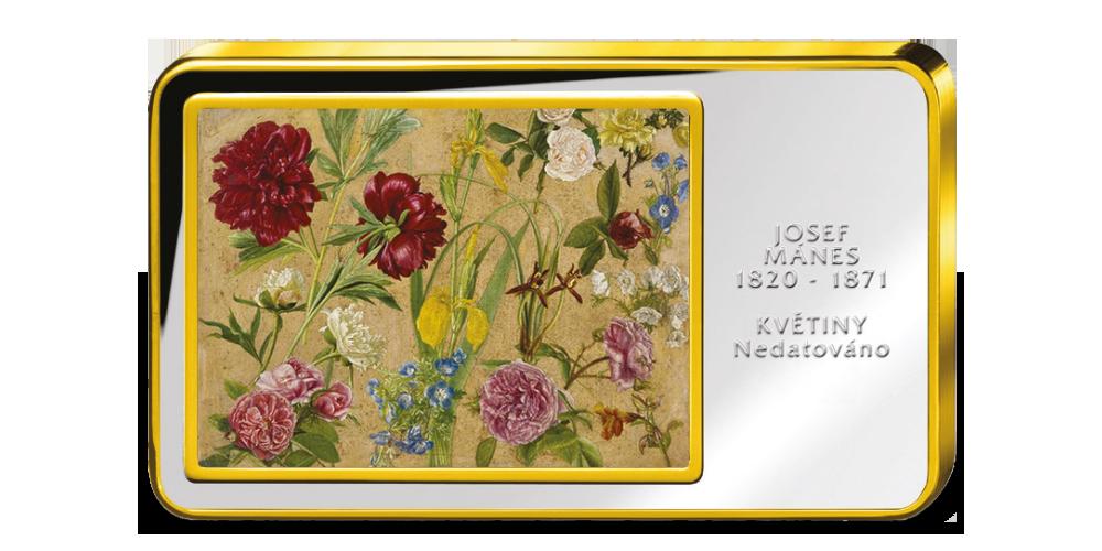 Josef Mánes, Květiny  - Kolorovaná medaile zušlechtěná ryzím zlatem
