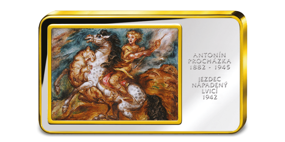 Antonín Procházka, Jezdec napadený lvicí - Kolorovaná medaile zušlechtěná ryzím zlatem