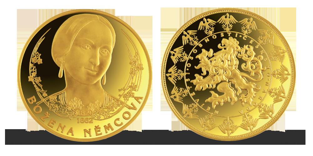Pozlacená pamětní medaile - Božena Němcová