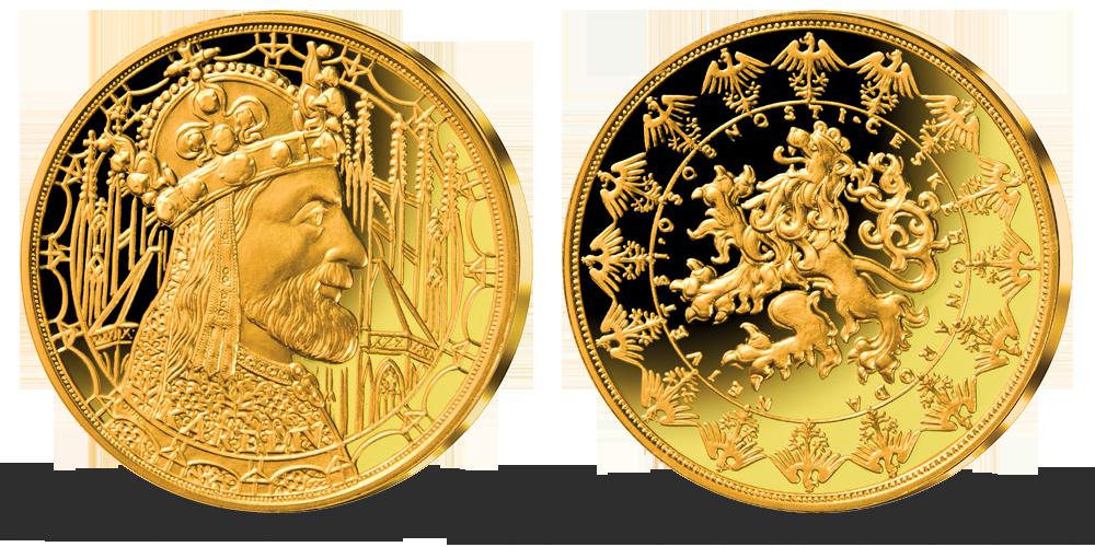 Pozlacená pamětní medaile - Karel IV.