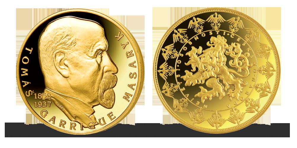 Pozlacená pamětní medaile - T. G. Masaryk