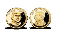 Prezidenstské dolary T. Jefferson a T. Roosevelt