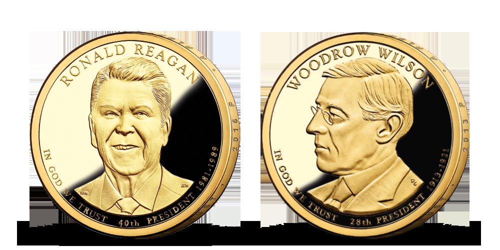 Prezidenstské dolary R. Reagan a W. Wilson