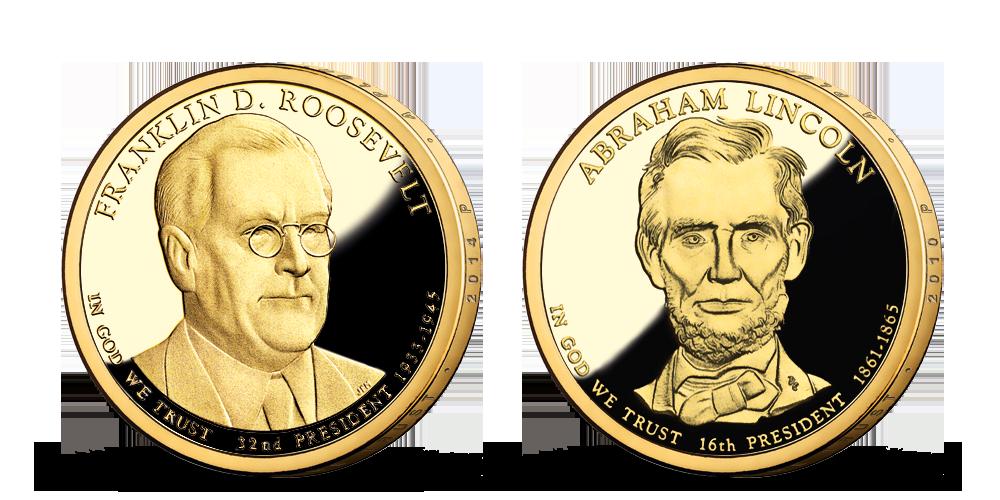 Prezidenstské dolary F. D. Roosevelt a A. Lincoln