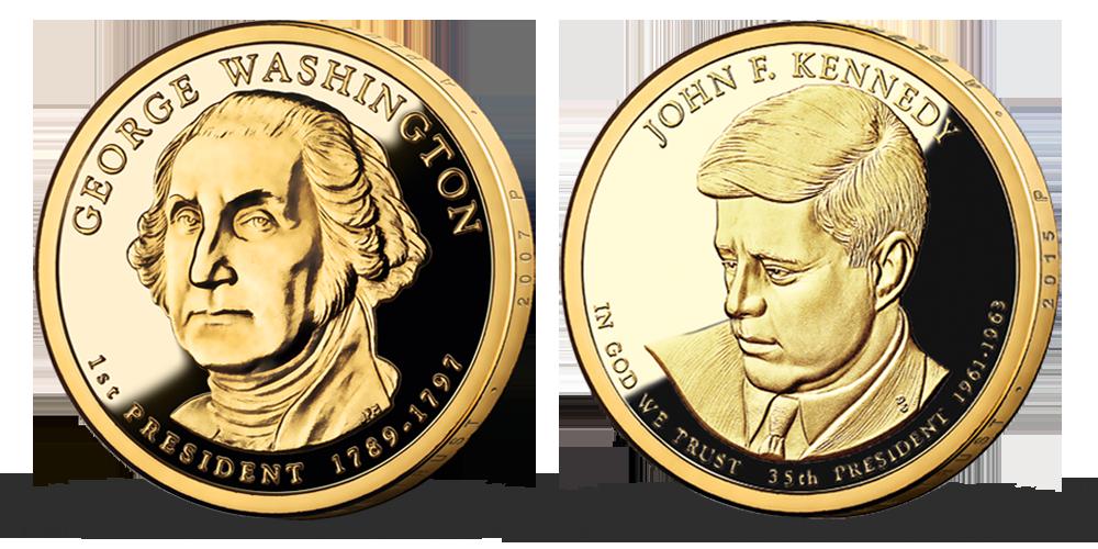 Prezidenstské dolary G. Washington a J. F. Kennedy