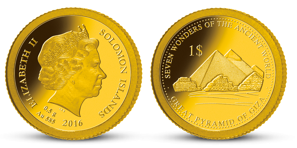 Zlatá mince Pyramidy v Gíze