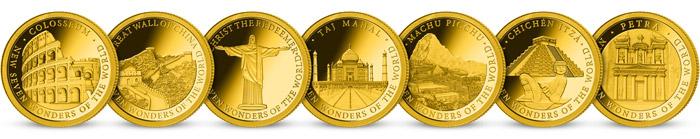 Kolekce 7 nových divů světa -  minci z ryzího zlata 999/1000