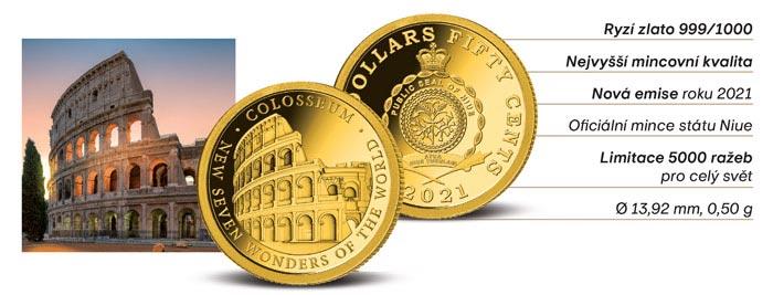 Zlatá mince Koloseum - 7 nových divů světa