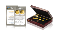 Příslušenství zdarma - dřevěný box, numismatická lupa, certifikát autentičnosti a osvědčení o vlastnictví sbirky