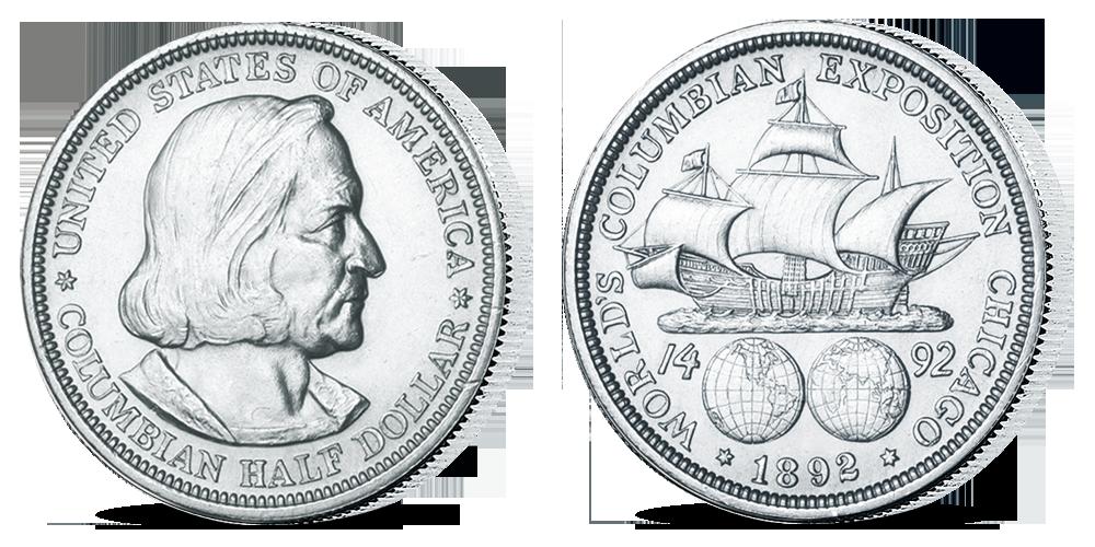 Stříbrná mince C. Columbus z kolekce Americké stříbrné dolary
