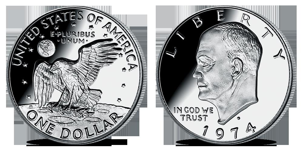 Stříbrná mince Dwight D. Eisenhower z kolekce Americké stříbrné dolary