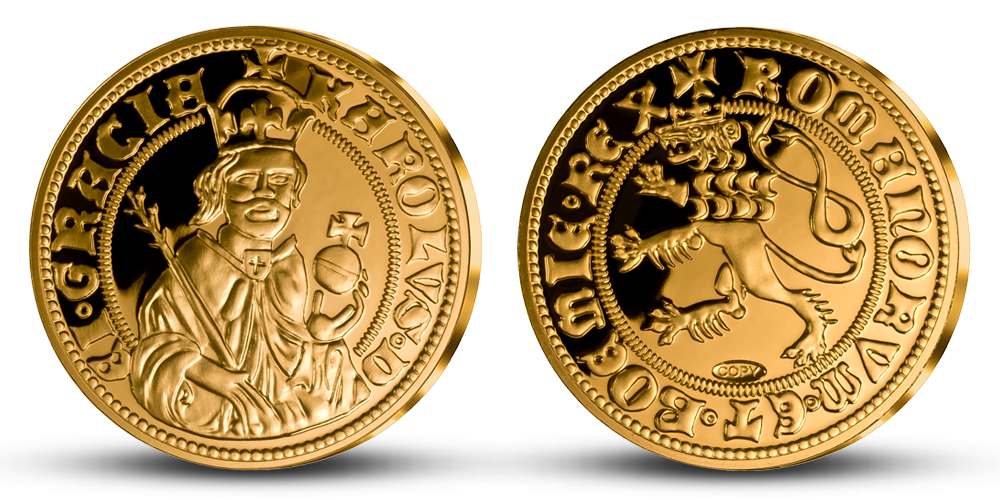Nejvýznamnější české mince - Císařský dukát Karla IV. zušlechtěný zlatem