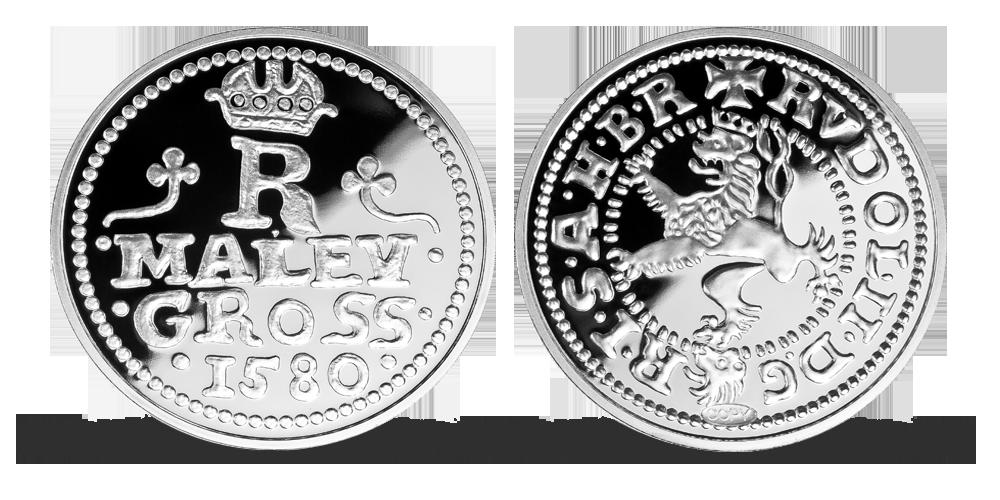 Nejvýznamnější české mince - Malý groš Rudolfa II. zušlechtěný stříbrem