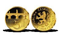 Nejvýznamnější české mince - Pětihaléř z roku 1924 zušlechtěný zlatem