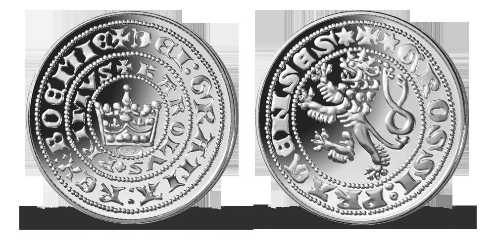 Nejvýznamnější české mince - Pražský groš Karla IV. zušlechtěný stříbrem