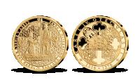 Život Karla IV. na pamětních medailích zušlechtěných ryzím zlatem - Založení univerzity Karlovy