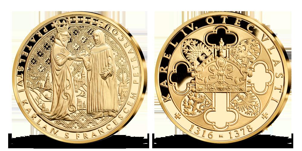 Život Karla IV. na pamětních medailích zušlechtěných ryzím zlatem -Přátelství Karla IV. s Francescem Petrarcou