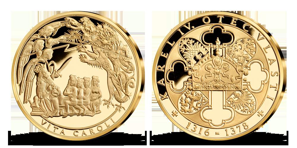 Život Karla IV. na pamětních medailích zušlechtěných ryzím zlatem - Vita Caroli