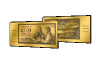 Zlaté československé bankovky - 10 Kčs