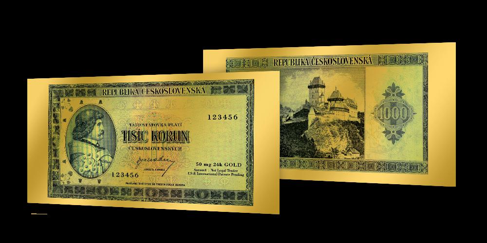 Zlaté československé bankovky - 1000 Kčs