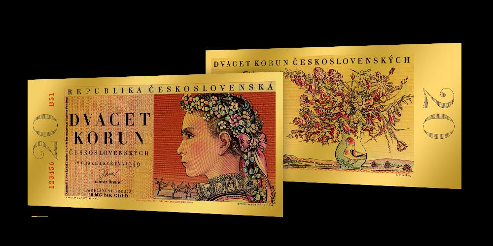 Zlaté československé bankovky - 20 Kčs