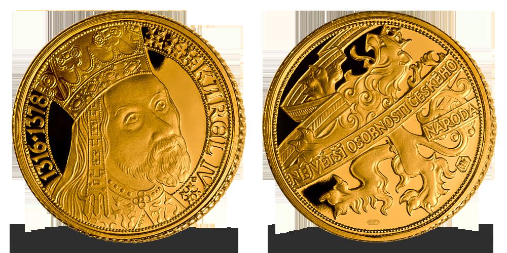 Zlatá pamětní medaile Karel IV. z kolekce Zlaté osobnosti