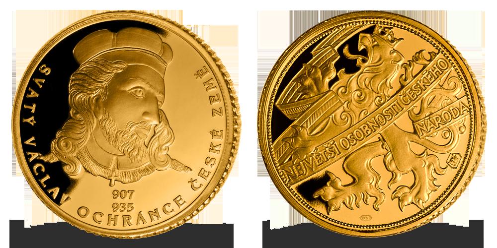 Zlatá pamětní medaile sv. Václav z kolekce Zlaté osobnosti