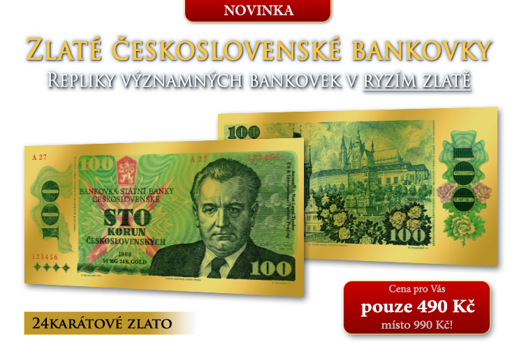 Zlaté repliky československých bankovek