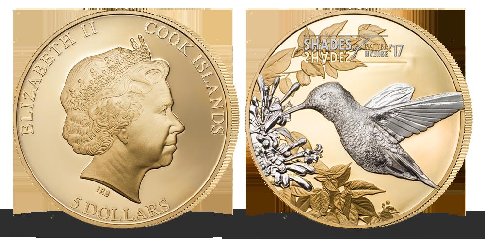 Kolibřík - stříbrná mince plátovaná zlatem