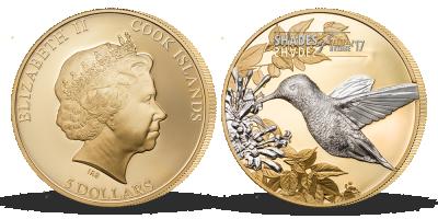 Stříbrná mince plátovaná zlatem - Kolibřík, 2017