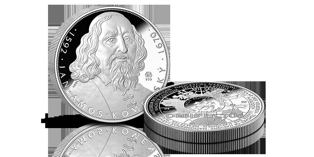 5uncová stříbrná medaile 425. výročí narození J. A. Komenského