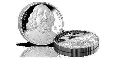 5uncová stříbrná medaile 425. výročí narození J. A. Komenský
