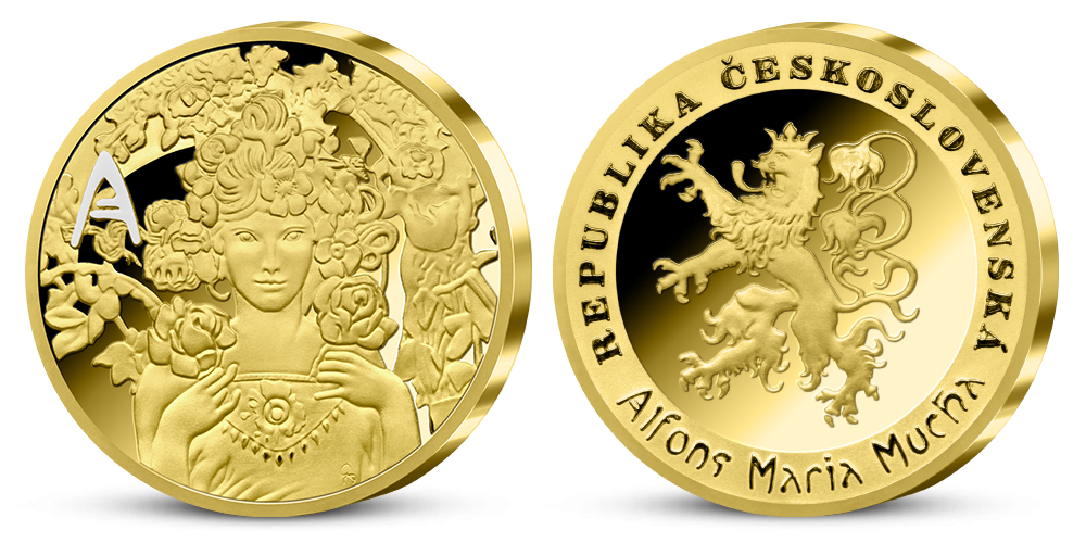 Alfons Mucha - sada pamětních medailí zušlechtěných ryzím zlatem - Růže
