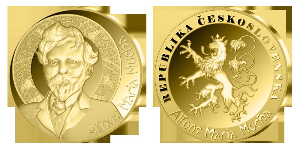Alfons Mucha - pamětní medaile z ryzího zlata součástí sady