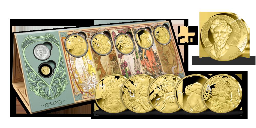 Alfons Mucha - sada pamětních medailí zušlechtěných ryzím zlatem   pamětní medaile z ryzího zlata 999/1000