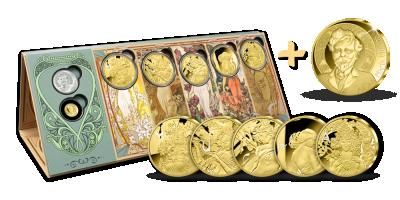 Kompletní sada M*U*C*H*A    Kompletní sada M*U*C*H*A se zlatou jubilejní medailí z ryzího zlata