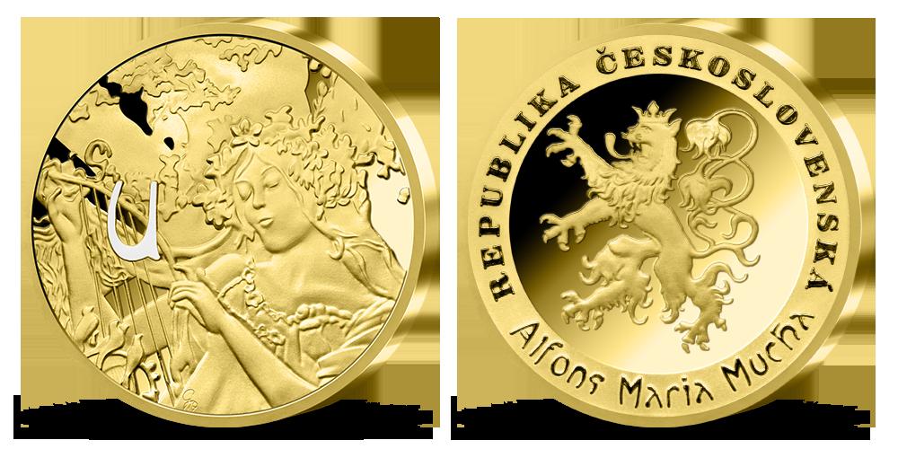 Alfons Mucha - sada pamětních medailí zušlechtěných ryzím zlatem - Jaro