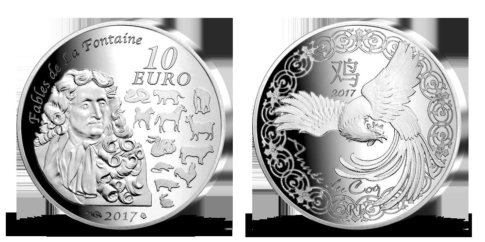 Lunární rok Osamělého kohouta 2017 - stříbrná mince z prestižní Pařížské mincovny