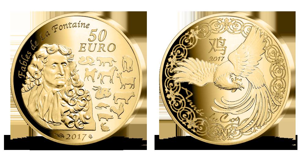 Lunární rok Osamělého kohouta 2017 na zlaté minci
