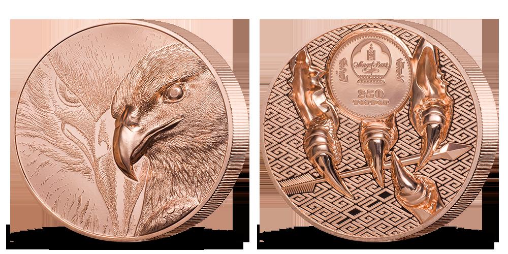 Majestátní orel na minci z 50 g mědi